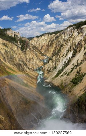 View of the Yellowstone River as it rushes through the canyon from the Lower Falls with rainbow.