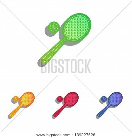Tennis racquet sign. Colorfull applique icons set.