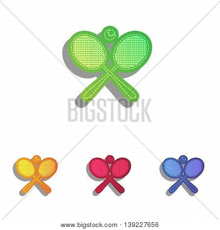 Tennis racket sign. Colorfull applique icons set.