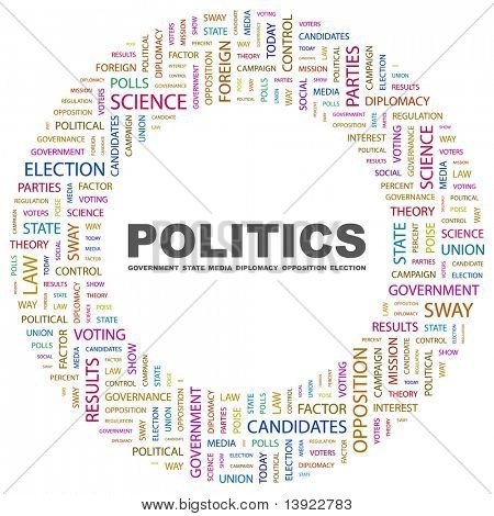 POLITICS. Word collage on white background. Vector illustration. Illustration with different association terms.