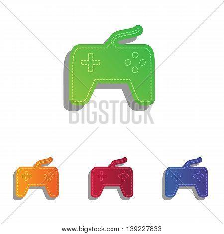 Joystick simple sign. Colorfull applique icons set.