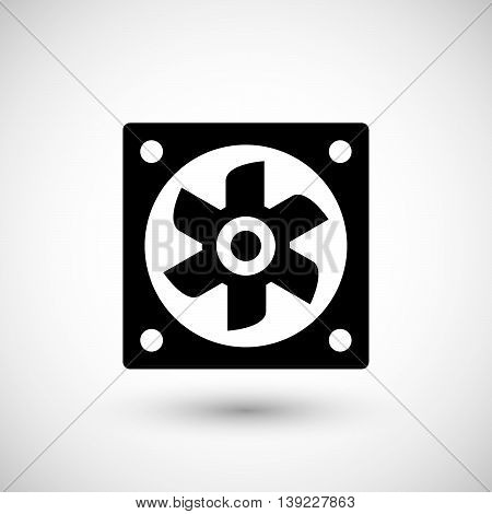 Ventilation fan icon isolated on grey. Vector illustration