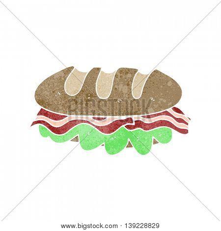freehand retro cartoon huge sandwich