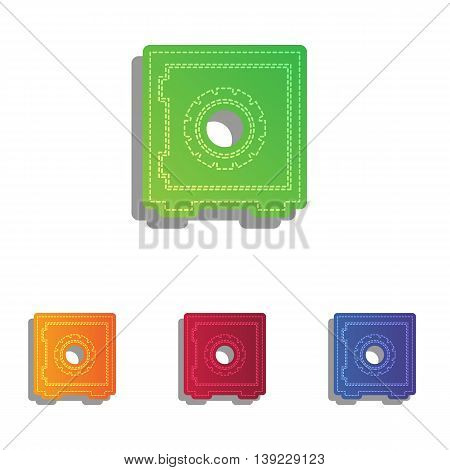 Safe sign illustration. Colorfull applique icons set.