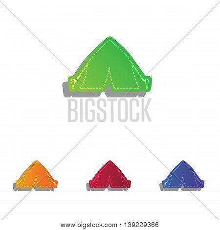 Tourist tent sign. Colorfull applique icons set.