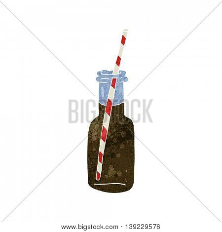 freehand retro cartoon fizzy drink bottle