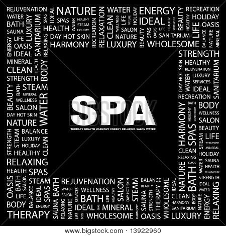 SPA. Word collage on black background. Vector illustration. Illustration with different association terms.