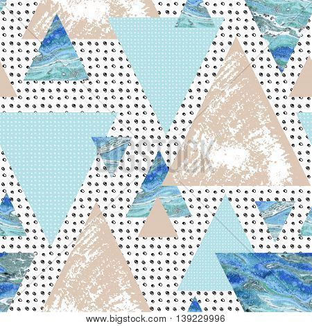 triangle seamless pattern with grunge and watercolor textures. Abstract geometric background in 80`s or 90`s style. Triangular shapes background with scribble and marble texture. Hand painted illustration
