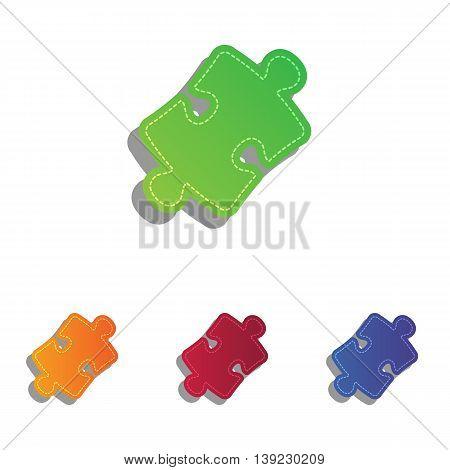 Puzzle piece sign. Colorfull applique icons set.