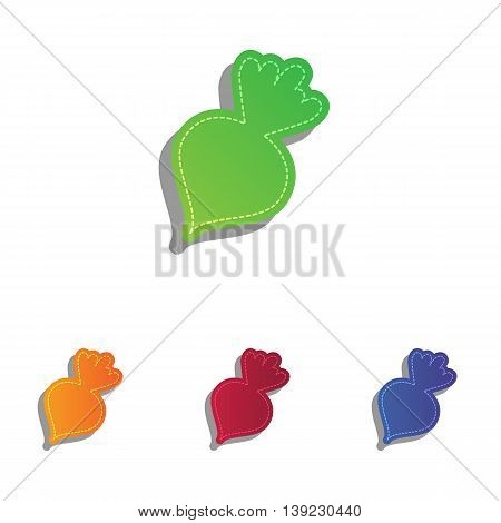 Beet simple sign. Colorfull applique icons set.