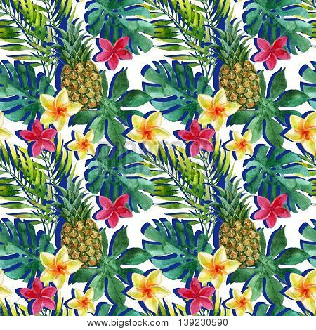 Tropical watercolor pineapple exotic flowers and leaves. Colorful exotic fruits and flowers. Pineapple and flowers seamless pattern in retro pop art style. Hand painted watercolor illustration