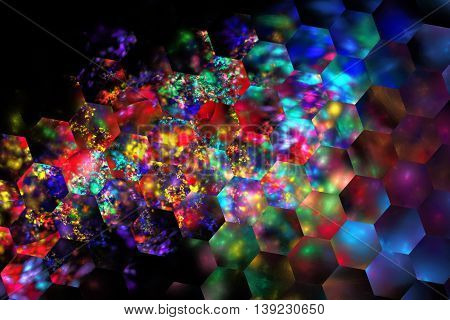 Abstract glowing shapes on black background. Fantasy hexagonal fractal texture in neon blue purple red yellow and green colors. 3D rendering.