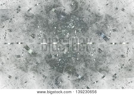 Silver debris. Abstract monochrome grunge background. Fantasy vintage fractal texture in white and grey colors. 3D rendering.