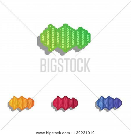 Sound waves icon. Colorfull applique icons set.