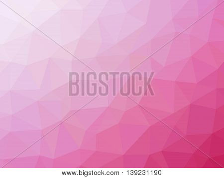 Pink white gradient romantic polygon shaped background.