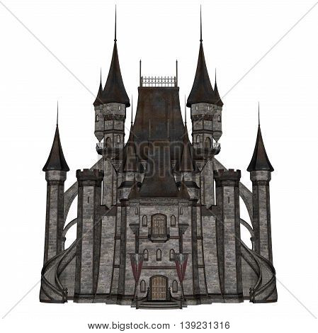 Beautiful detailed castle isolated in white background - 3D render