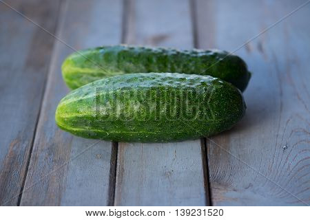 Photos of two cucumbers on wooden backgroundfresh picked cucumbers on wooden background.