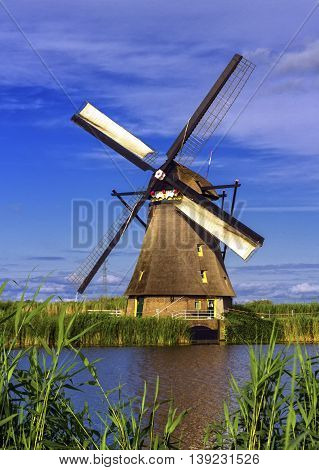Famous historical windmill in Kinderdijk, Holland, Netherlands