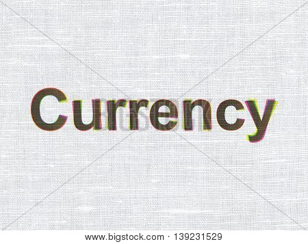 Banking concept: CMYK Currency on linen fabric texture background