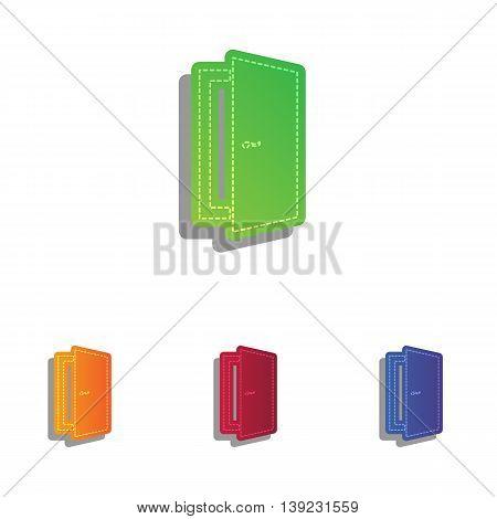 Door sign illustration. Colorfull applique icons set.