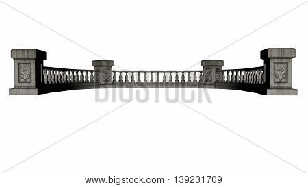 Vintage metallic fence isolated in white background - 3D render