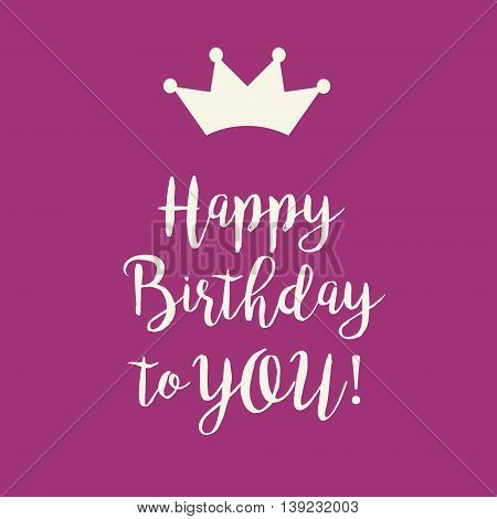 Cute Happy Birthday card with a text and a princess crown on a pink background.
