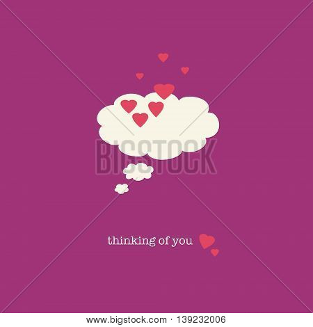 A sweet Valentines Day card with a thought bubble covered in pink hearts.
