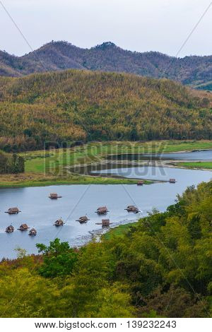 bamboo raft hut in Huay Krating Reservoir., Loie Province, Thailand.