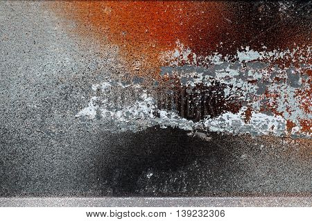 Different Peeled And Scratched Dyes On Rough Metal Surface