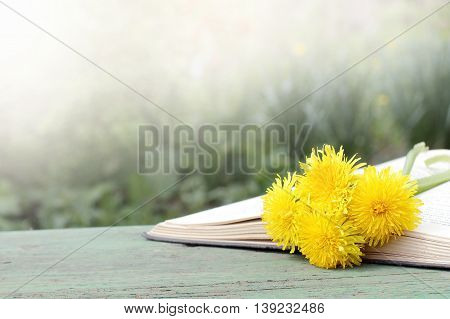 open book with a bookmark of spring flowers in nature