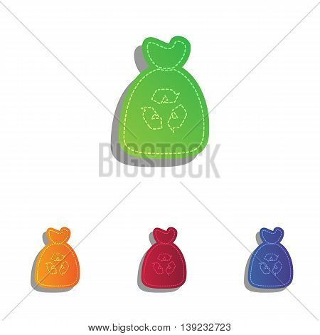 Trash bag icon. Colorfull applique icons set.