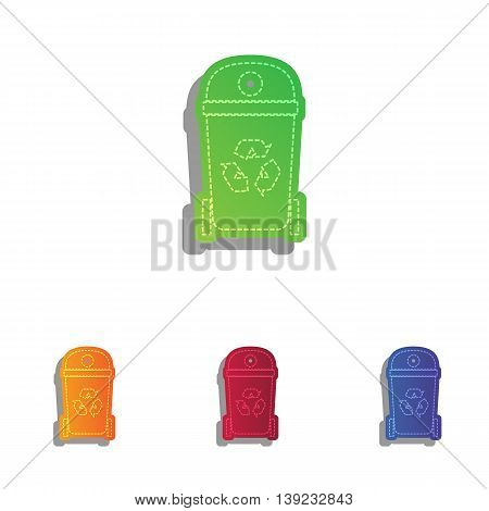 Trash can sign illustration. Colorful applique icons set.