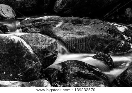 Little water fall at Namtok Phlio National Park, Black and White