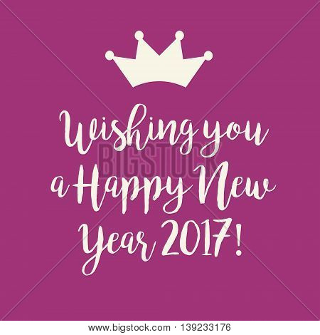 Simple pink Wishing you a Happy New Year 2017 card with a crown.