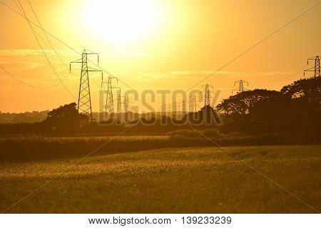 Pylons In Sunset