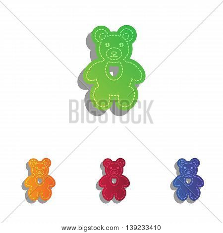 Teddy bear sign illustration. Colorfull applique icons set.