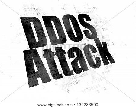 Security concept: Pixelated black text DDOS Attack on Digital background