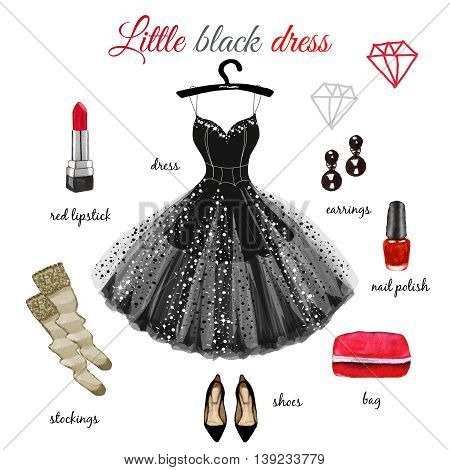 Little Black dress with red accessories hand drawn illustration isolated on white background