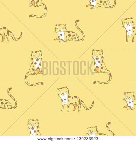 Seamless  pattern with cute cartoon leopards on  yellow background. Funny african animals. Wild cats. Children's illustration. Vector image.