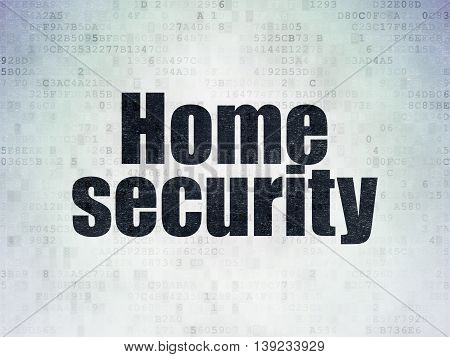 Safety concept: Painted black word Home Security on Digital Data Paper background