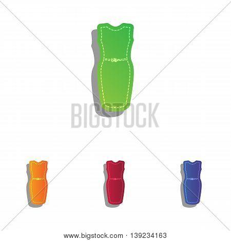 Dress sign illustration. Colorfull applique icons set.