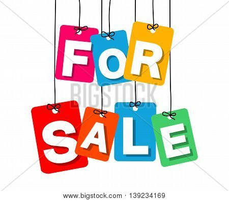 Vector colorful hanging cardboard. Tags - for sale on white background