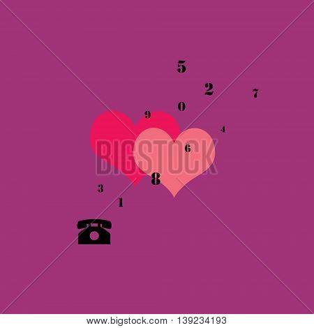 A retro illustration with two pink hearts and a rotary dial phone on fuchsia background.