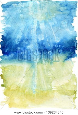 Watercolor sea bottom illustration. Seabed with waves glare on the water and foam. Hand painted background