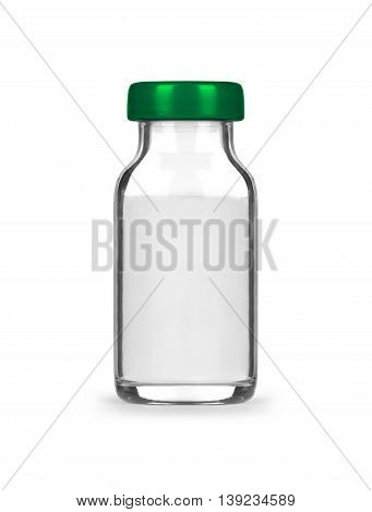medical bottle with preparation isolated on white background