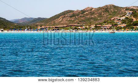 The beautiful beach of Porto Taverna near Porto San Paolo on the east coast of Sardinia Italy