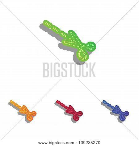 Scissors sign illustration. Colorfull applique icons set.