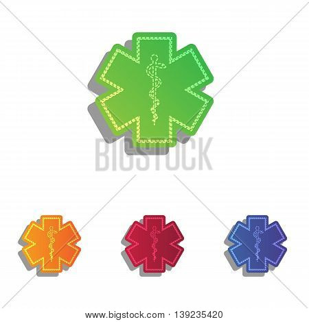 Medical symbol of the Emergency - Star of Life. Colorfull applique icons set.