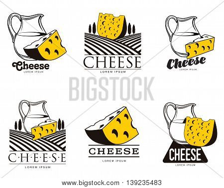 large set of various logo with cheese, simple illustration isolated on white background, set of cheese emblems, symbols, logo design concepts, set of cheese logo with a jug of milk