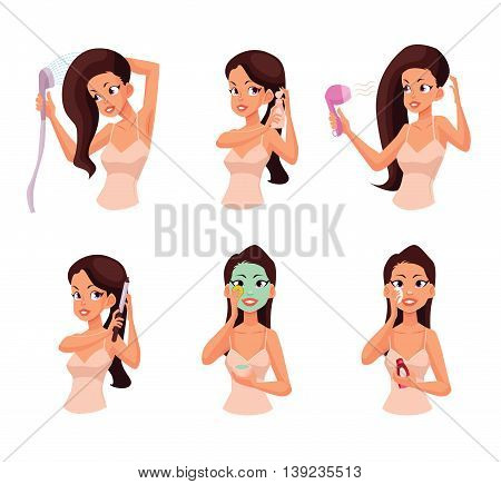 Colorful cartoon style illustration of pretty woman doing beauty procedures. Isolated on white background. Face and hair beauty treatments. Routine cosmetic procedures